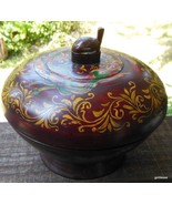 Hand Made Wood  Folkart Bowl on Pedestal / Lid Hand Painted Turtle Finia... - $49.40
