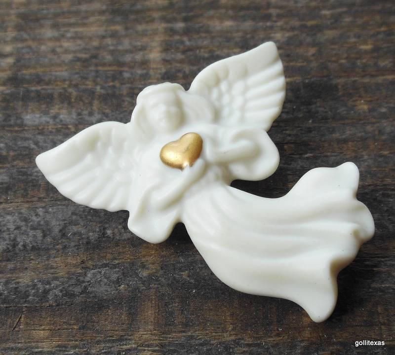 "Lenox Ceramic Angel with Heart 2"" Pin - $12.40"