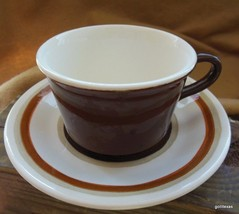 Mid Century Stoneware Royal USA Santa Fe  2 Cups and 2 Saucers - $14.00