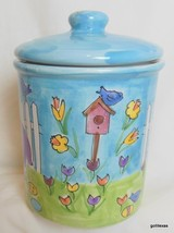 "Ceramic Starbucks Cookie / Coffee Container Spring Hand Painted Hungary 7"" - $25.00"