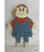 "Vintage Hand Made Hand Painted Wood Doll in Overalls 7.5"" - $16.40"