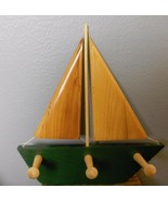 """Wood Sail Boat with 3 Pegs for Hanging 12.5 x 13"""" - $33.40"""