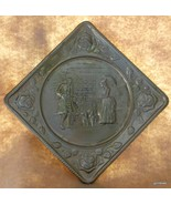 "Vintage Hand Made Antique Brass Wall Plate Square Dogs Man Woman 6.5"" - $20.40"