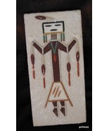 "Vintage Sand Painting Hand Made ""Male Night Chant"" 3 x 6"" Toledo New Mexico - $20.40"