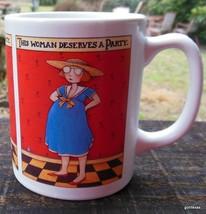 "Mary Engelbreit Mug ""This Woman Deserves a Party...."" Pregnant  4"" - $16.00"