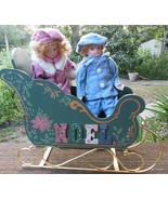 Two Porcelain Dolls with Wood Sleigh Hand Painted - $40.40