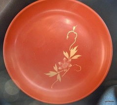 """Vintage Red Laquer Bowl with Gold Flower Japan 6"""" - $25.00"""