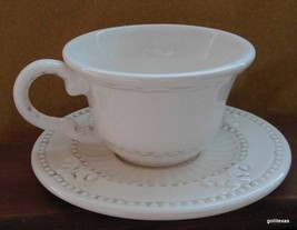 """Set of 2 American Atlier Baroque Cups and Saucers White 6"""" Saucer - $15.00"""