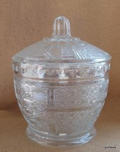 "Vintage Pressed Glass Candy Dish Jar with Lid Clear 5.5"" - $15.00"