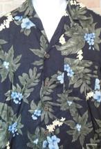 Caribbean Joe Hawaiian Shirt  Medium Black and Blues 100% Rayon Floral P... - $23.40
