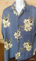 Caribean Joe Vintage Hawaiian Shirt XL White Flowers on Gray 100% Rayon - $18.40
