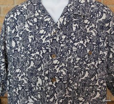 Caribbean  Hawaiian Shirt  XL 100% Rayon Floral Print Navy & White - $23.40