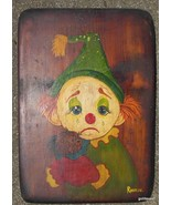 "Vintage Hand Painted Clown on Wood Plak Boy 11 x 17"" - $35.40"