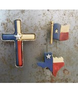 """Set of 3 Texas Magnet Clips Cross State of Texas and Flag Resin 2"""" or so - $13.40"""