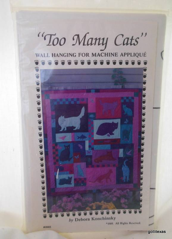 """""""Too Many Cats"""" Instruction Kit Wall Hanging Machine Applique Vintage 1989 - $14.40"""