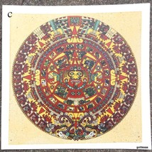 Sand Painting Print Aztec Calendar 12 x 12 Made in Mexico Cuauhxicalli - $22.40