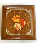 """Vintage Wood Jewelry Box Floral Design on Top 7 x 7"""" - $29.00"""