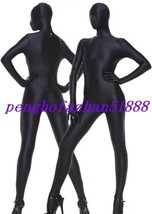 HALLOWEEN COSPLAY SUIT BLACK LYCRA SPANDEX FULL BODY SUIT CATSUIT COSTUM... - $32.99