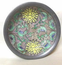 "Japanese Porcelain Bowl Floral Chrysanthemum Encased in Pewter ACF 4"" - $34.40"