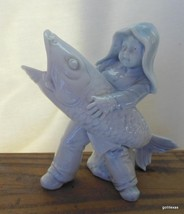 """Vintage Fine China Little Fisherman with Enormous Fish 4.5"""" - $30.40"""