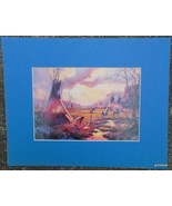 "Matted Print ""Gold Shadow Camp"" by Hulan Flemming 1989 Blue Mat 8 x 10"" - $16.40"