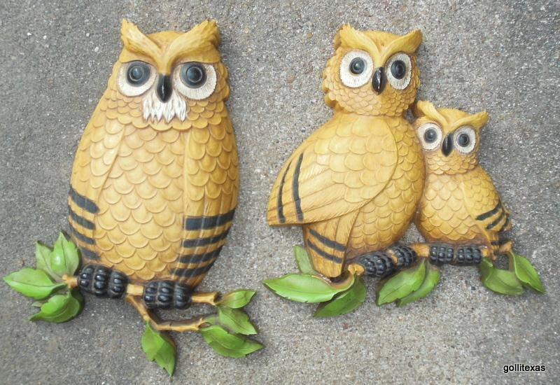 Vintage Set of 2 Plastic Owls Wall Pieces Dark Yellow Homco 1975