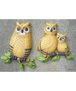Vintage Set of 2 Plastic Owls Wall Pieces Dark Yellow Homco 1975 - $20.00