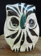 "Vintage Folk Art Ceramic Owl Mexico 1979 Red Flower 2.5"" - $14.00"