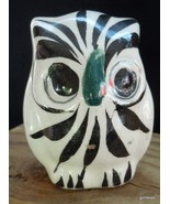"Vintage Folk Art Ceramic Owl Mexico 1979 Red Flower 2.5"" - $14.00"
