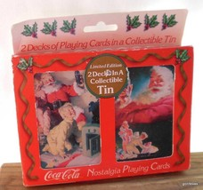 Xmas Coca-Cola Limited Edition Nostalgia Playing Cards 2 Decks / Tin Box... - $17.40