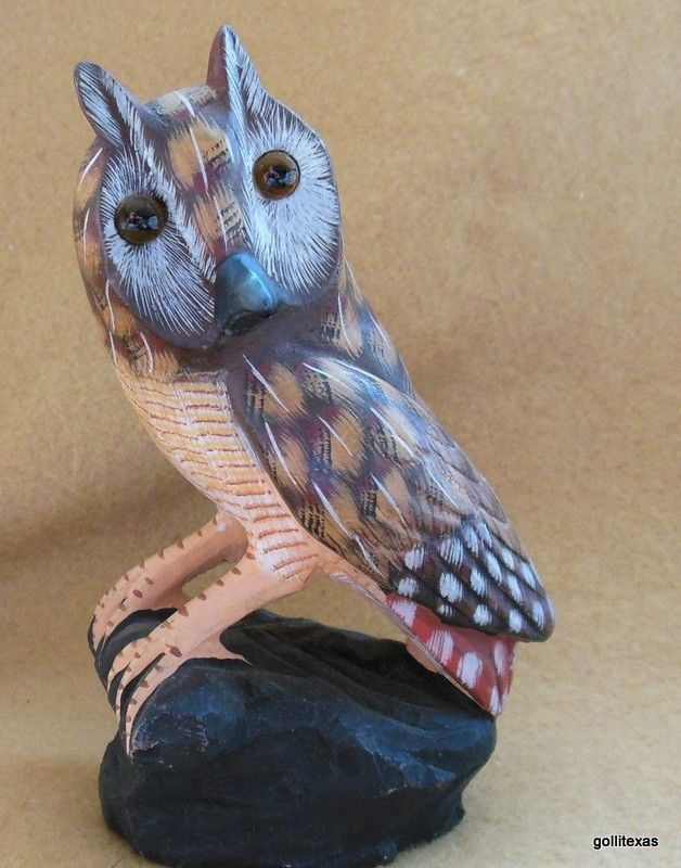 "Vintage Mid Century Owl Stone Hand Painted PRC 6"" Heavy Paper Weight"