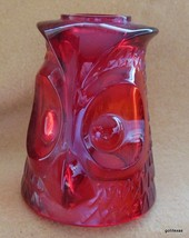 "Vintage Mid Century Viking Ruby Glass Fairy Light Owl Top Only 4.5"" - $18.00"