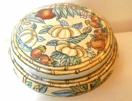 "Vintage Ceramic Bowl with Lid Flowers and Fruits Andrea by Sadek 7"" Diam... - $24.00"