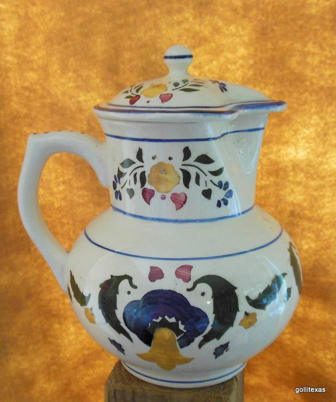 "Primary image for Vintage Pitcher with Lid Hand Painted Czechlovakia 7"" Ceramic"