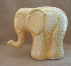 "NEW Rich Yellow Elephant  4.25"" Covered with Carved Flowers - $25.00"