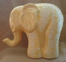 "NEW Rich Yellow Elephant  7.5"" Covered with Carved Flowers - $35.00"