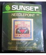 """Vintage Sunset Needlepoint Design Kit """"Kitchen is the Heart..."""" 5 x 5"""" F... - $14.40"""