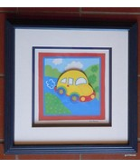 "Kris Banks  Framed Picture Yellow V W Bug 13 x 13"" - $18.00"