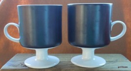 "Vintage Set of 2 Fitz and Floyd Pedestal Mug Black and White Unusual 3.75"" - $30.00"