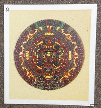 Sand Painting Print Aztec Calendar 8.5 x 9.5 Made in Mexico Cuauhxicalli - $18.40