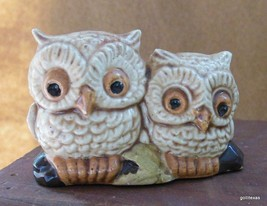 "Vintage Two Little Owls on a Branch Hand Painted Ceramic 1.75 x 2.5"" - $19.40"