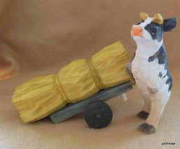 """Hand Carved Cow Pulling Bale of Hay 4.5 """" - $17.40"""