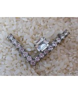 """Vintage L Shape Pin with Prong Set Clear Crystals 1.5"""" - $22.40"""