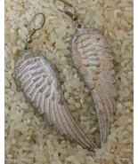 """Silver / Pewter Tonel  Angel Wing Earrings Pierced 3"""" - $14.40"""