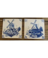 Vintage Set of 2 Square Tiles with Windmills B - $10.40