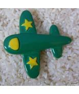 "Fun Green Airplane Pin Brooch with Yellow Stars Plastic 2"" - $13.40"