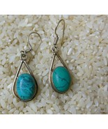 """Silver and Turquose Earrings Pierced 1.5"""" Made in India - $24.40"""