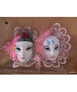 """Ceramic Mask Set of 2 with Feathers Bisque Hand Painted with Ribbons 4""""  Q - $23.00"""