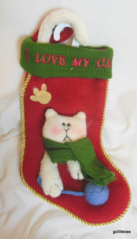 "Primary image for ""I Love My Cat"" Knit Christmas Stocking with Applique and Embroidery 14"""