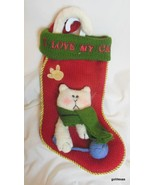 """I Love My Cat"" Knit Christmas Stocking with Applique and Embroidery 14"" - $19.40"